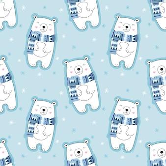 Śliczny bezszwowy wzór, niedźwiedź polarny, śnieg, płatki śniegu, niedźwiedź w szaliku, zima.