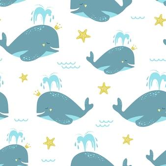Śliczny bezszwowy wzór z błękitnymi wielorybami i rozgwiazdą.