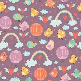 Śliczny bezszwowy wzór z doodle ptakami i balonami