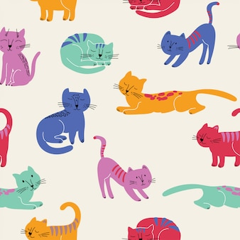 Śliczny bezszwowy wzór z kolorowymi kotami