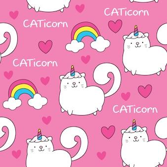 Śliczny bezszwowy wzór z kot jednorożec