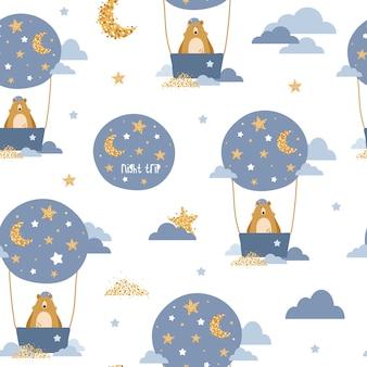 Śliczny bezszwowy wzór z niedźwiedziami na lotniczych balonach