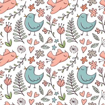 Śliczny bezszwowy wzór z ptakami i kwiatami