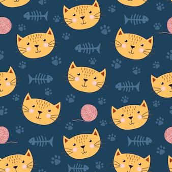 Śliczny bezszwowy wzór z śmiesznym kotem