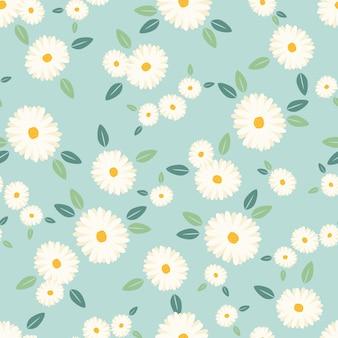 Śliczny białej stokrotki kwiatu bezszwowy wzór na błękitnym tle