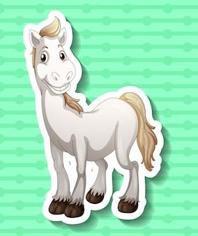 Śliczny biały koń się uśmiecha