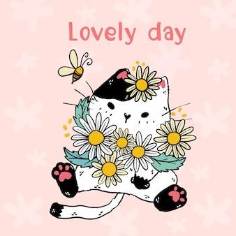 Śliczny biały kot z kwiatami stokrotka i pszczołą, napis piękny dzień, pomysł na naklejkę, kartkę z życzeniami, sublimację, dziecko, grafika ścienna, do druku