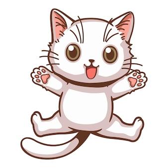 Śliczny biały kotek podskoczył z rękami i nogami lśniącymi z kreskówek radości