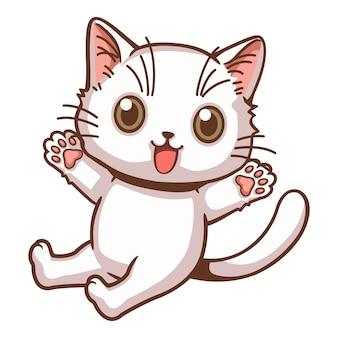 Śliczny biały kotek uśmiechający się wesoły rysunek