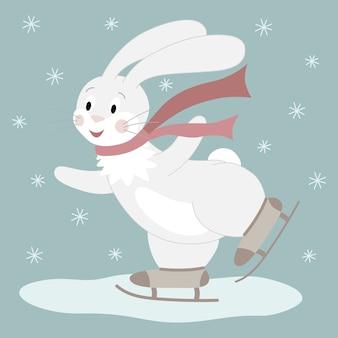 Śliczny biały królik z czerwonym szalikiem na łyżwach. ilustracja postaci z kreskówek.