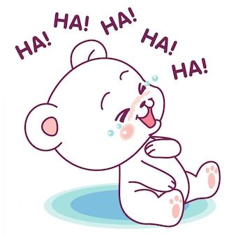 Śliczny biały niedźwiedź śmieje się głośno