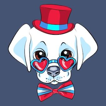 Śliczny biały szczeniak labrador retriever pies w czerwonym kapeluszu