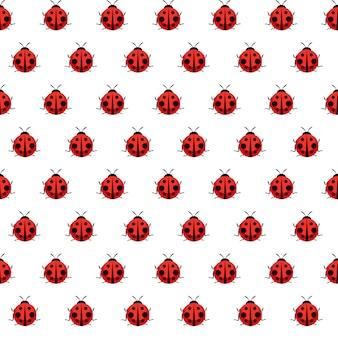 Śliczny biedronka bezszwowy wzór dla tapety
