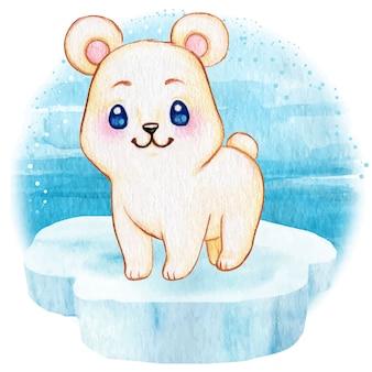 Śliczny biegunowy dziecko niedźwiedź unosi się na morzu na górze lodowa