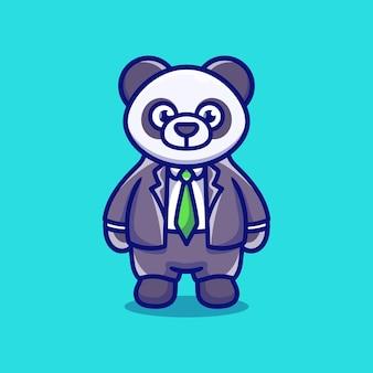 Śliczny biznesmen szef panda ilustracja kreskówka