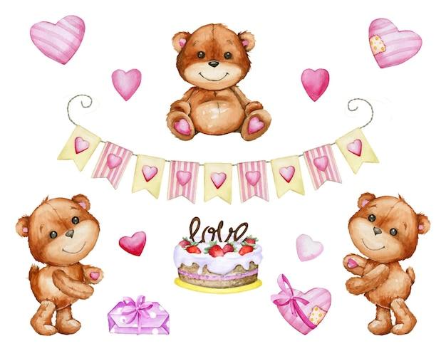 Śliczny brązowy miś tort, girlanda, prezenty serca. zestaw akwareli, elementy, na białym tle, w stylu kreskówki