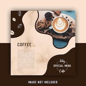 Śliczny brązowy napój kawiarnia szablon postu w mediach społecznościowych