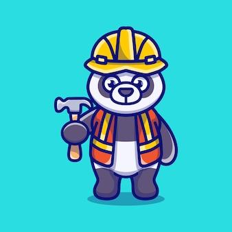 Śliczny budowniczy pandy niosący młotek