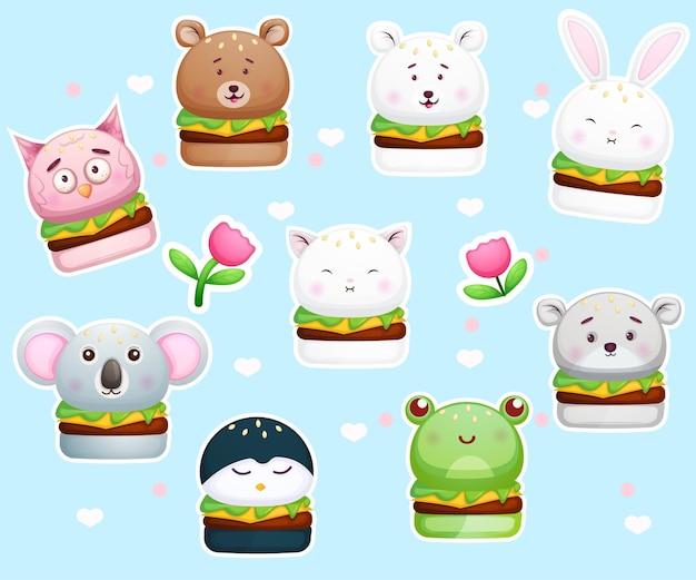 Śliczny burger naklejek w zwierzęcych kształtach.