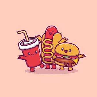 Śliczny burger z hotdog i frytek kreskówki ikony ilustracją. jedzenie i picie ikona koncepcja na białym tle. płaski styl kreskówek