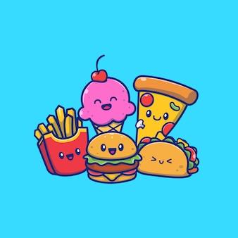 Śliczny burger z taco, frytkami, pizzą i lody kreskówki ikony ilustracją. karmowy rodzinny ikony pojęcie odizolowywający. płaski styl kreskówek