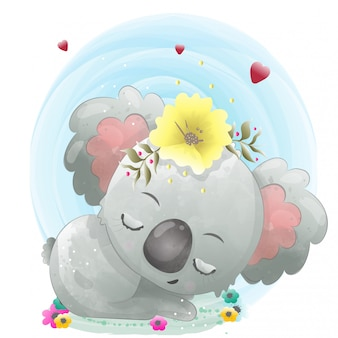 Śliczny charakter koala dla dzieci malowane akwarelą.