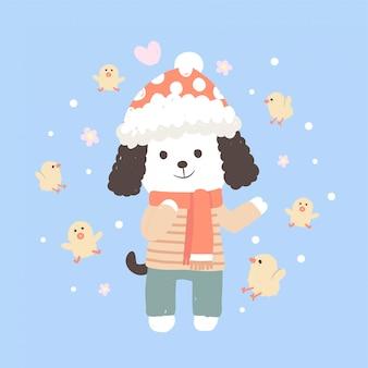 Śliczny charakter szczeniaka zimy płótno