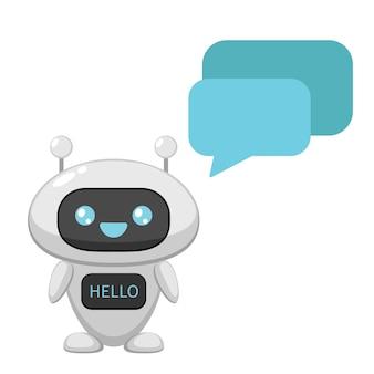 Śliczny chatbot z mową bąbelkową