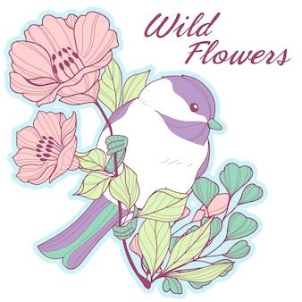 Śliczny chickadee na gałąź z kwiatami