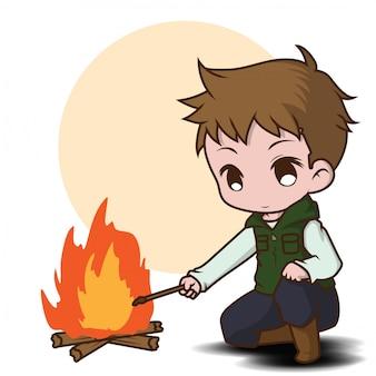 Śliczny chłopiec camping., lasu obozu pojęcie.