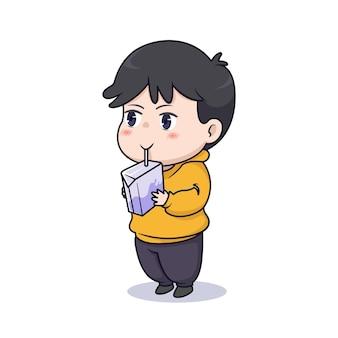 Śliczny chłopiec chibi pijący ilustrację