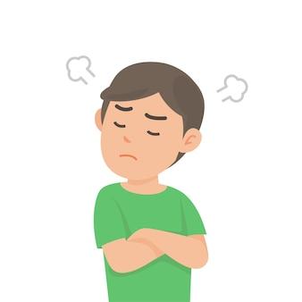 Śliczny chłopiec dostaje szalenie gniewny bój z dmuchaniem od ucho wyrażenia, wektorowa ilustracja.
