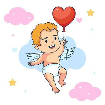 Śliczny chłopiec dziecka anioł trzyma miłość balonu