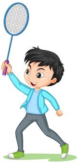 Śliczny chłopiec grający postać z kreskówki badmintona na białym tle