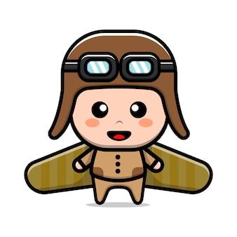 Śliczny chłopiec grający zabawkowy samolot kartonowy ilustracja kreskówka