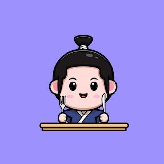 Śliczny chłopiec samuraj gotowy do jedzenia ilustracja maskotka