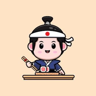 Śliczny chłopiec samuraj z ilustracją maskotki sushi
