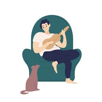 Śliczny chłopiec siedzi w wygodnym fotelu i gra ukulele dla swojego psa. ilustracja kolorowy kreskówka płaski.