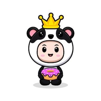 Śliczny chłopiec ubrany w kostium pandy z płaską ilustracją postaci z korony i pączka