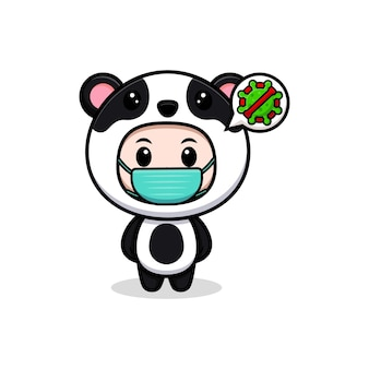 Śliczny chłopiec ubrany w strój pandy noszący maskę do zapobiegania wirusowi. płaska ilustracja postaci kostiumu zwierzęcego