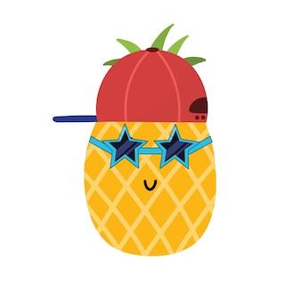 Śliczny chłopiec z ananasa w czapce i okularach przeciwsłonecznych letni nadruk dla dzieci postać z owoców kreskówki