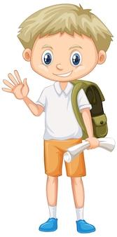Śliczny chłopiec z plecakiem i papierem