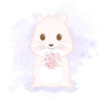 Śliczny chomik cieszy się łasowania ciastka ręki rysującą zwierzęcą ilustrację