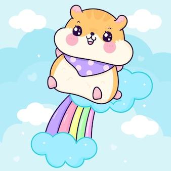 Śliczny chomik skacze na pastelowej tęczowej ilustracji kawaii zwierzę