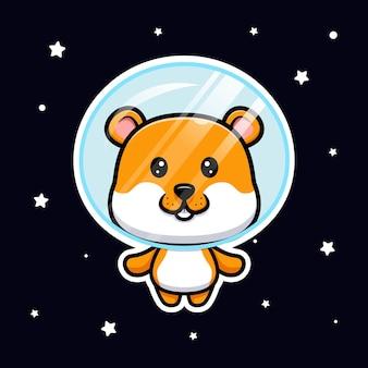 Śliczny chomik unoszący się na kosmicznej ilustracji kreskówki cartoon
