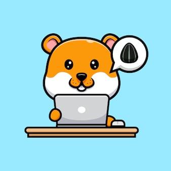 Śliczny chomik z ilustracją kreskówki laptopa