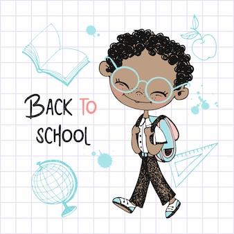 Śliczny ciemnoskóry chłopiec ze szkolnym plecakiem idzie do szkoły. powrót do szkoły.