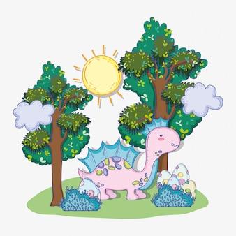 Śliczny corythosaurus z jajkami w krzakach i drzewach