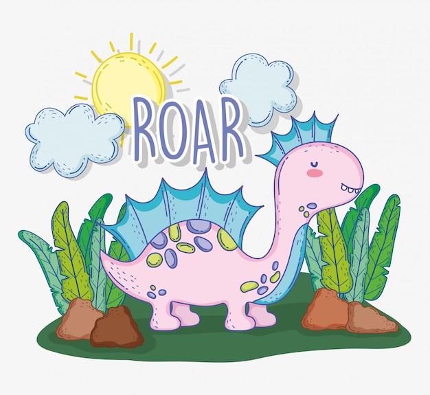 Śliczny corythosaurus z roślinami i słońcem z chmurami