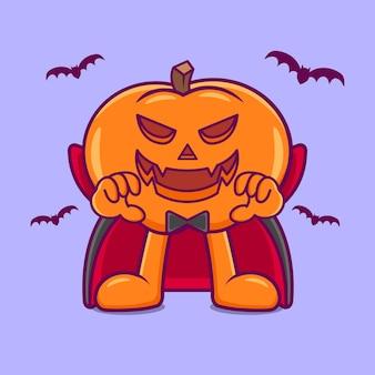 Śliczny cosplay z dyni na halloween dracula. płaski styl kreskówki premium wektorów